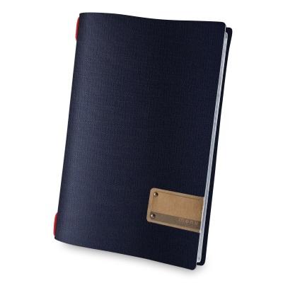 Portamenù PVC A4 Juta Blu Etichetta Patch con Elastico